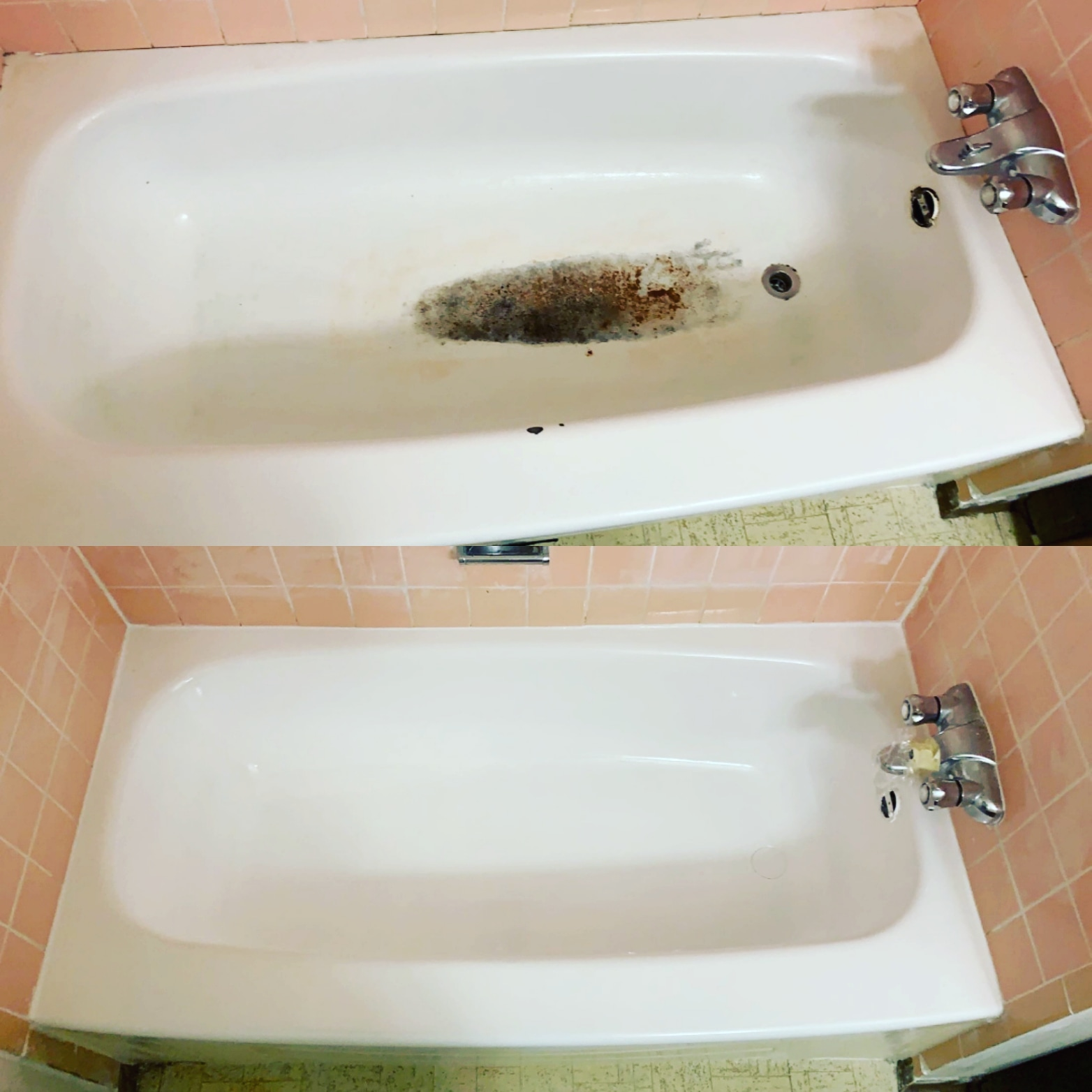before and after cleaning bathtub