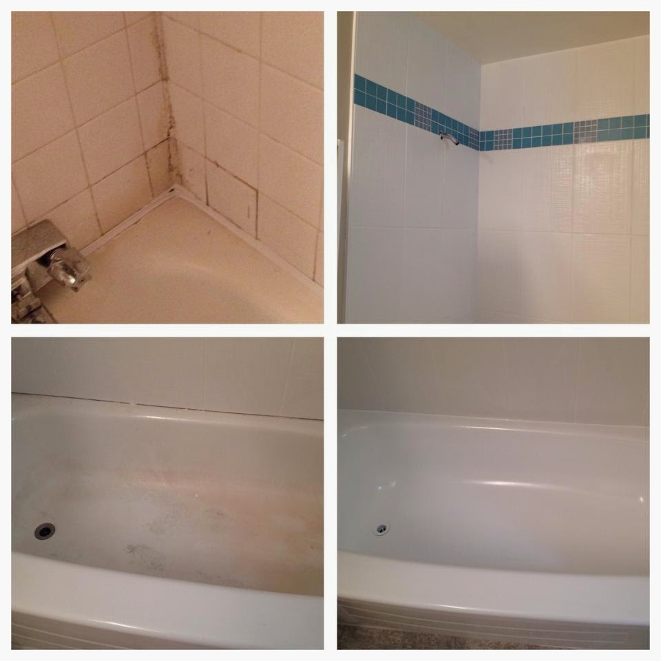 before and after cleaning bathroom and bathtub